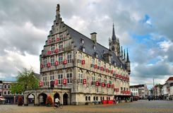 Town Hall in Gouda. The architectural masterpiece in Gothic style in the square in Gouda Royalty Free Stock Photos