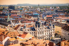 Town hall in Graz city. Top view on the town hall from the castle hill in Graz city. Traveling Austria Stock Photos