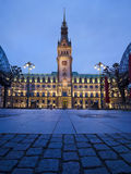 Town Hall in Hamburg at night Royalty Free Stock Images