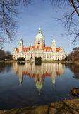 Hannover Town Hall. Town Hall of Hannover reflected in Maschteich pond Stock Photos