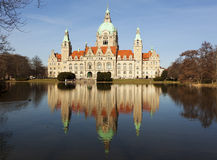 Hannover Town Hall. Town Hall of Hannover reflected in Maschteich pond Royalty Free Stock Photography