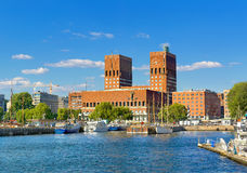 Town Hall and harbour, Oslo. Norway, Europe Royalty Free Stock Photos