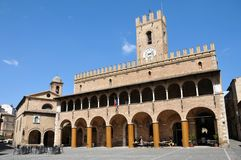 Offida medieval town in central Italy. The Town Hall in the historic center of the medieval town of Offida in the Province of Ascoli Piceno. Marche region royalty free stock photos