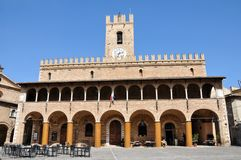 Offida medieval town in central Italy. The Town Hall in the historic center of the medieval town of Offida in the Province of Ascoli Piceno. Marche region royalty free stock images