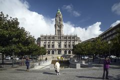 Town hall landmark in central porto portugal Royalty Free Stock Images