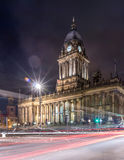 Town Hall in Leeds, West Yorkshire, UK (Night Shot). Night Shot of Town Hall in Leeds, West Yorkshire, UK with Light Trail. Also a local landmark of Leeds Royalty Free Stock Images
