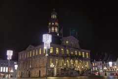 Town hall Maastricht in evening view royalty free stock photos