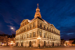 Town hall of Maastricht, The Netherlands. The historical town hall of Maastricht by night. Located in the Netherlands Royalty Free Stock Photo