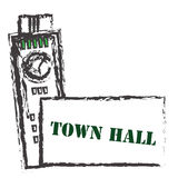 Town hall. Main building for town. | Town hall stock illustration