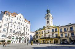Town hall on main square in Cieszyn, Poland. Historic town hall located on main square in Cieszyn, Poland stock image