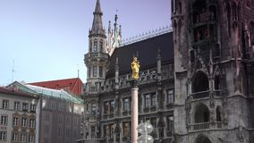 Town hall on the main square Marienplatz in the center of the Munich stock video