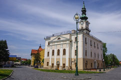 Town hall and the main square in the town of Kezmarok. Slovakia royalty free stock image