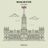 Town Hall in Manchester, UK. Landmark icon. In linear style royalty free illustration