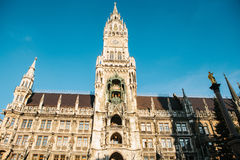 Town Hall Marienplatz in the central square of Munich, the center of the pedestrian zone and one of the main attractions Stock Photography
