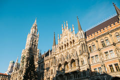 Town Hall Marienplatz in the central square of Munich, the center of the pedestrian zone and one of the main attractions Stock Photo