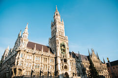 Town Hall Marienplatz in the central square of Munich, the center of the pedestrian zone and one of the main attractions Stock Images