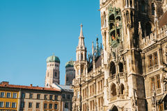 Town Hall Marienplatz in the central square of Munich, the center of the pedestrian zone and one of the main attractions Royalty Free Stock Photos