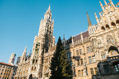 Town Hall Marienplatz in the central square of Munich, the center of the pedestrian zone and one of the main attractions Stock Photos