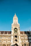 Town Hall Marienplatz in the central square of Munich, the center of the pedestrian zone and one of the main attractions Royalty Free Stock Images