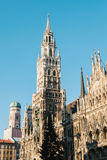 Town Hall Marienplatz in the central square of Munich, the center of the pedestrian zone and one of the main attractions Stock Image