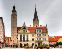 Town hall and market church of Ingolstadt Royalty Free Stock Image
