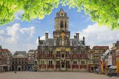 Town hall and market square, Delft, Holland Stock Image