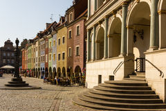 Town hall & Merchants houses in Market Square. Poznan. Poland. The stairs to the Town hall in the foreground and Merchants's Houses in the old market square ( stock photo