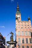 Town Hall and Neptune Fountain in Gdansk. Town Hall (Polish: Ratusz Glownego Miasta) of the Main City and Neptune Fountain (Polish: Fontanna Neptuna), bronze Royalty Free Stock Photo