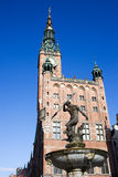 Town Hall and Neptune Statue in Gdansk. Neptune Fountain (Polish: Fontanna Neptuna), bronze statue of the Roman God of the sea and Town Hall of the Main City ( Stock Photography