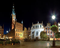 Town Hall at night in Gdansk Royalty Free Stock Photos