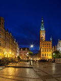 Town Hall at night in Gdansk Royalty Free Stock Photography