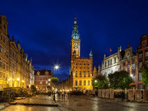Town Hall at night in Gdansk Royalty Free Stock Photo