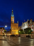Town Hall at night in Gdansk Royalty Free Stock Images
