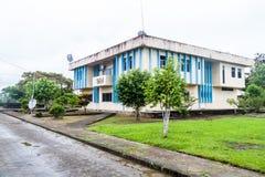 Town hall in Nuevo Rocafuerte. Village, Ecuador stock images