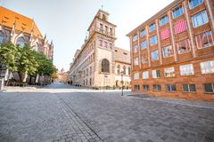 Town hall in Nurnberg, Germany. Morning view on the old town hall building in Nurnberg, Germany stock images