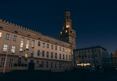 Town Hall Opole at night royalty free stock photography