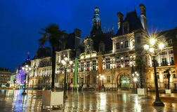 The town hall of Paris, France at night Royalty Free Stock Photo