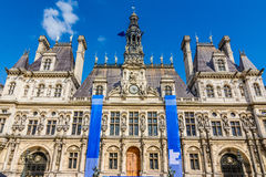 The town hall of Paris Hotel de Ville, France Stock Image