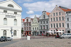 Town hall and patrician houses at market place of Wismar Royalty Free Stock Photo