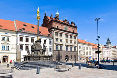 Town hall and Plague column, Plzen, Czech republic Stock Photos