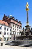 Town hall and Plague column, Plzen, Czech republic Royalty Free Stock Photography