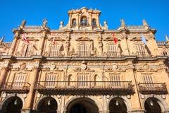 Town hall at Plaza Mayor in Salamanca, Castilla y Leon, Spain.  Royalty Free Stock Photo