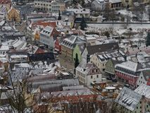Pegnitz, main street and town hall. View from observation tower. Town hall Rathaus, and main street Hauptstraße in Pegnitz, Bavaria. Winter, houses covered with Royalty Free Stock Photos