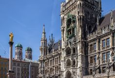 New Town Hall on Marienplatz, Munich, Germany. Town Hall Rathaus at Marienplatz, Munich, Germany stock images