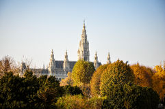 Town hall (Rathaus) Vienna in fall Stock Photography