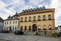 Town hall of Reichenbach (Vogtland), Germany, 2015. Town hall and other bulidings at the market place of Riechenbach (Vogtland Stock Photo