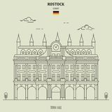 Town Hall in Rostock, Germany. Landmark icon royalty free illustration