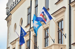 Town Hall in Rzeszow, Poland. Flags on Town Hall in Rzeszow Stock Images