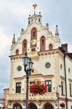 Town Hall in Rzeszow, Poland. Flags on Town Hall in Rzeszow Stock Photos
