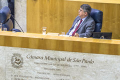 Town Hall. Sao Paulo, Brazil, August 02, 2016. Municipal government or city council working inside Town hall on Anchieta Palace in downtown Sao Paulo Stock Photography